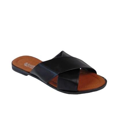 Tsimpolis Shoes T012 Παντόφλα Από Τεχνόδερμα Μαύρη