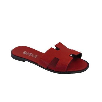 Tsimpolis Shoes T011 Παντόφλα Από Τεχνόδερμα Κόκκινη