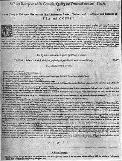 Garways c. 1670 Tea Advertisement