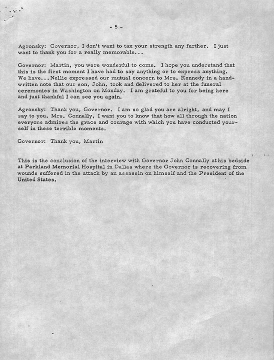 Connally Interview with Martin Agronsky, November 27, 1963