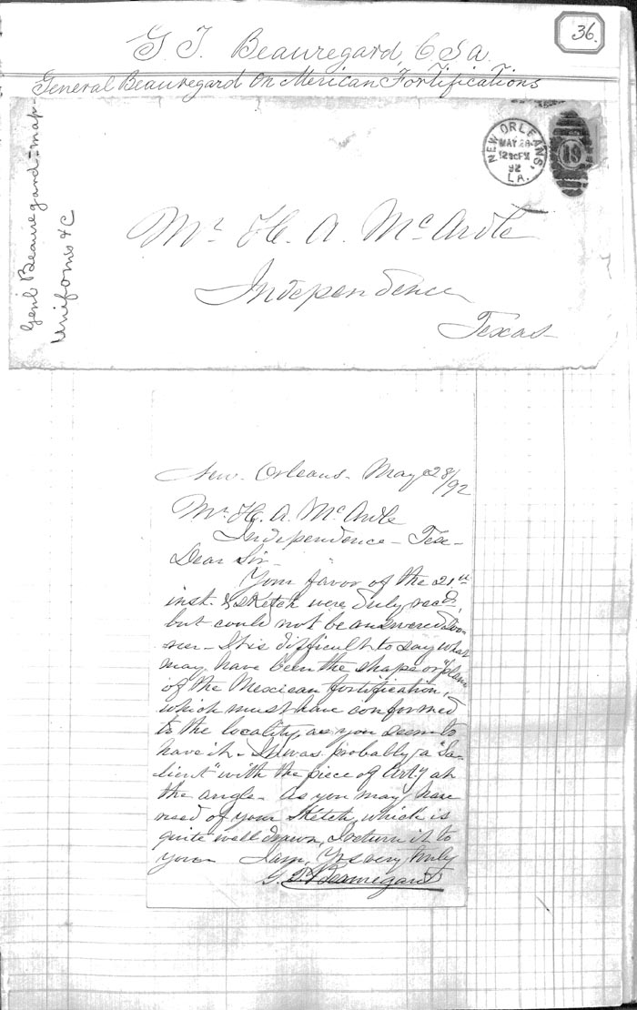 Letter on Mexican Fortifications from P.G.T. Beauregard, C