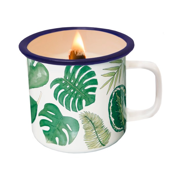 LEAFS CANDLE IN A CUP