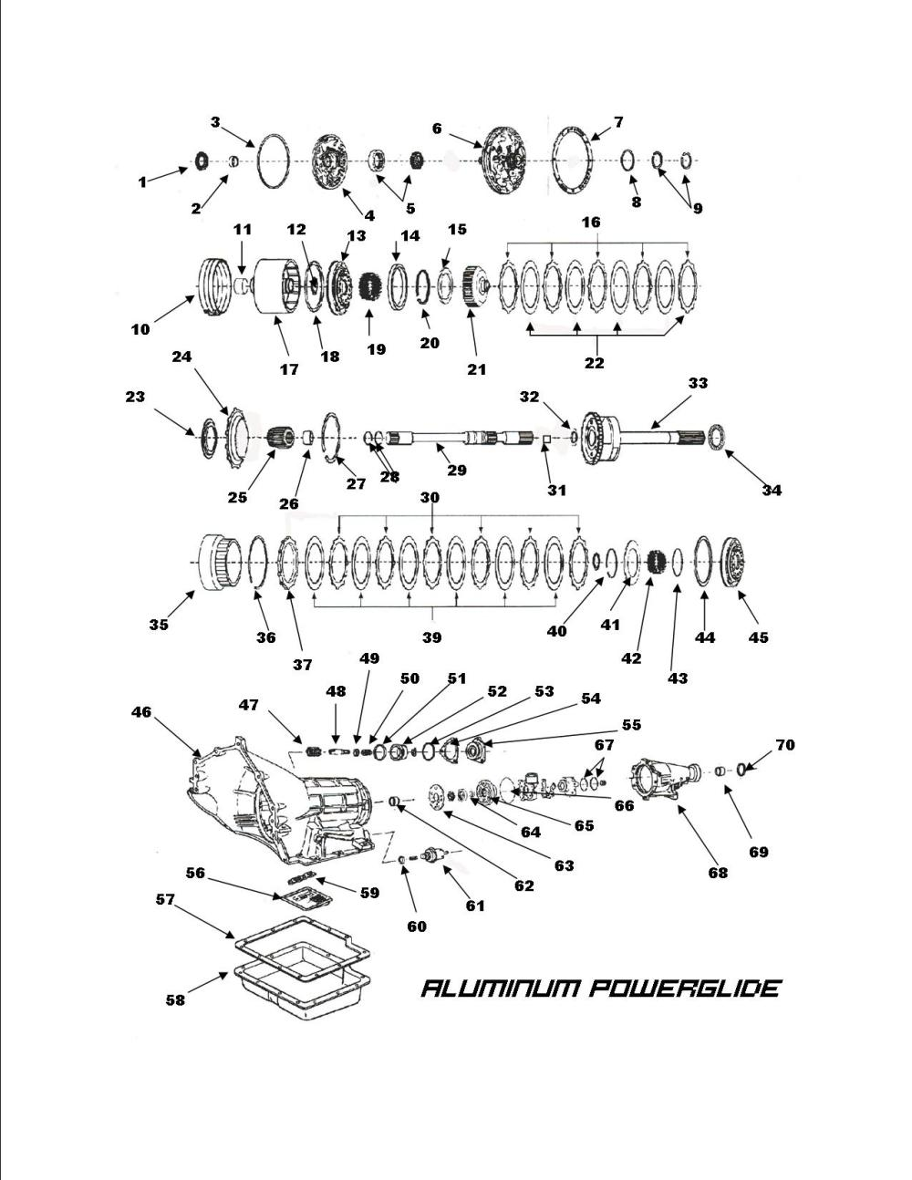 medium resolution of power glide transmission exploded view
