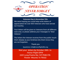 Letter to Our Veterans - Operation Never Forget