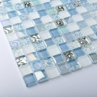 TST Crystal Glass Tiles Blue Glass Mosaic Tile Iridescent ...