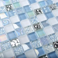 TST Crystal Glass Tiles Blue Glass Mosaic Tile Iridescent ...