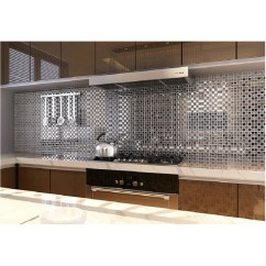 Mosaic Kitchen Tile Cabinets Crown Molding Tst Crystal Glass Silver Water Wave Background Wall Chrome Interior Design