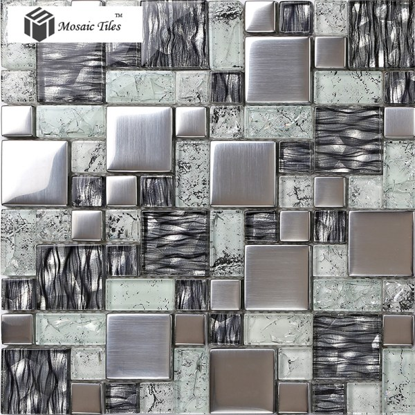 Tst Crystal Glass Tile Glossy Mosaics Silver Crackle