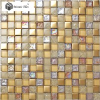 TST Crystal Glass Mosaic Tile iridescent Golden Glass Tile ...