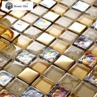 TST Crystal Glass Mosaic Tile iridescent Golden Glass Tile ...