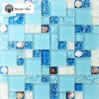 TST Glass Conch Tiles Sea Blue Glass Tile Bathroom Wall ...