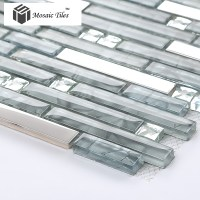 Glass Mosaic Tile With Stainless Steel - Tile Design Ideas