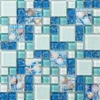 TST Glass Conch Tiles Beach style Sea Blue Glass Tile ...