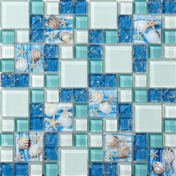 Blue Sea Glass Mosaic Tile Bathroom
