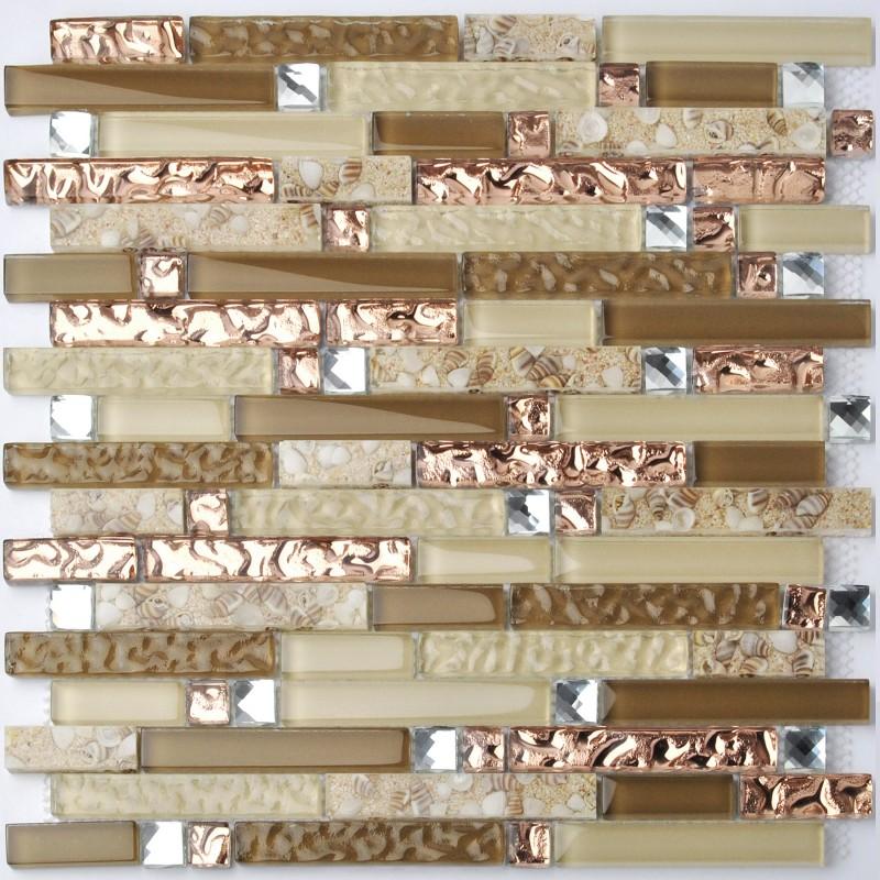 tst crystal glass tile rose gold beige conch beach style strip interlocking kitchen backsplash tiles