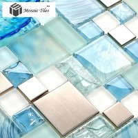 TST Glass Metal Tile Blue Sky Cloud White Kitchen Bath ...
