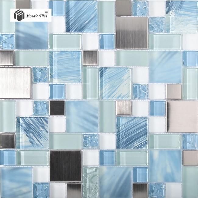 3d Beach Wallpaper Cost Tst Glass Metal Tile Blue Sky Cloud White Kitchen Bath