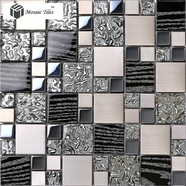 Tst Glass Metal Tile Black Silver Water Wave Design Chips Mosaic Home Background Bath Deco Art