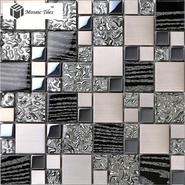 Silver Metal Glass Mosaic Tiles
