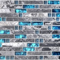 TST Nature Stone Glass Tiles Blue Wave Marble Striped Art ...