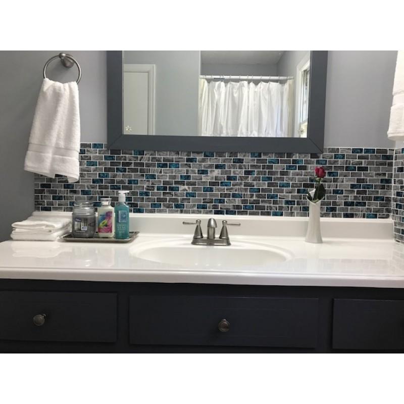ocean teal blue glass nature stone tile kitchen backsplash 3d bath shower accent wall decor gray wave marble 1 x 2 subway art mosaics tstnb03