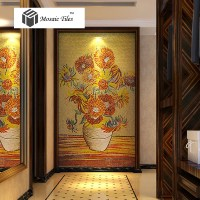 TST Mosaic Murals Sunflower Van Gogh Oil Painting Fire