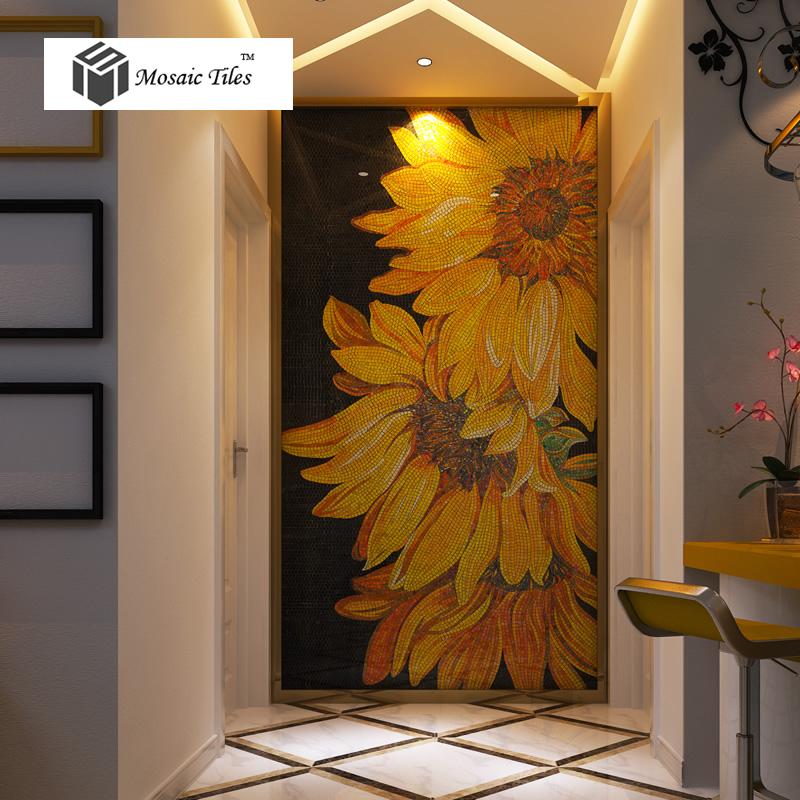 3d Floor Wallpaper Murals Tst Mosaic Mural Sunflowers Parquet Unique Art Background