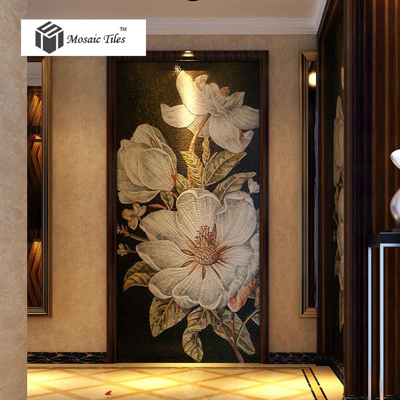 living room tiles wall nice furniture sets tst mosaic mural white kapok beautiful flower parquet ...