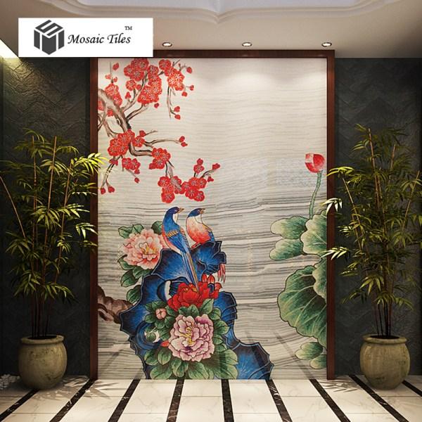 Flower Mosaic Tile Mural