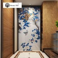 TST Mosaic Mural Blue Leaves White Flower Butterfly Living ...