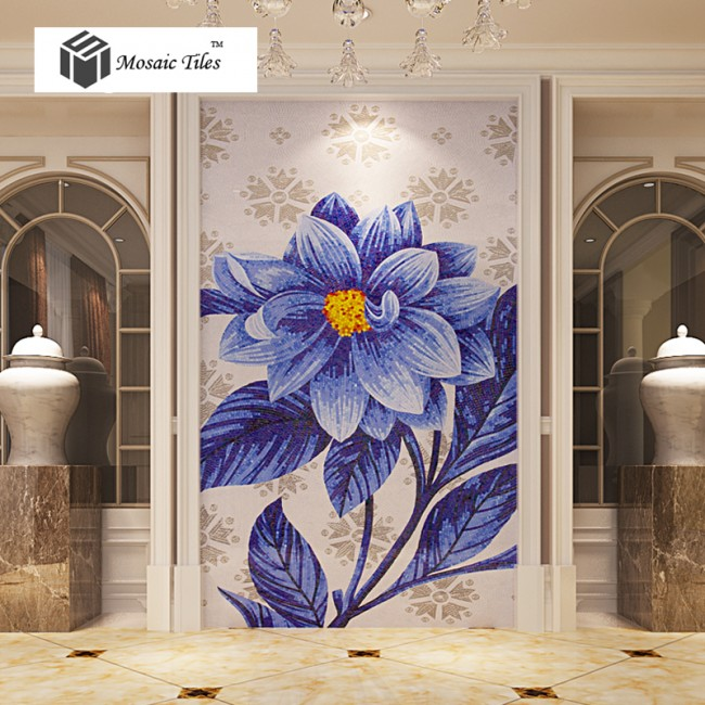 TST Mosaic Mural Jade Glass Sea Blue Big Flower Home Hotel