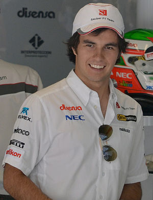 Sauber F1 driver Sergio Perez in the garage du...
