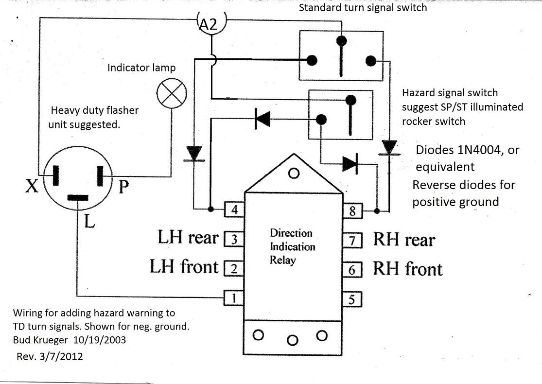wiring diagram for motorcycle hazard lights kitchen light adding warning to td turn signals