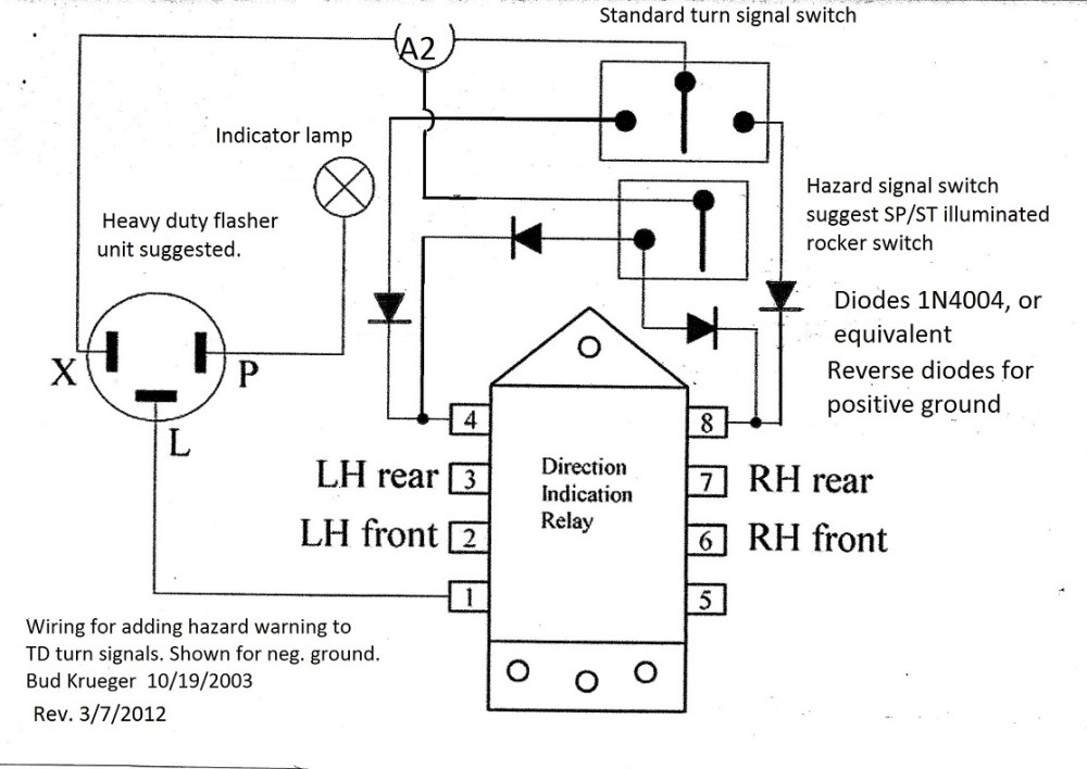medium resolution of adding hazard warning to td turn signals hazard and turn signal switch wiring diagram