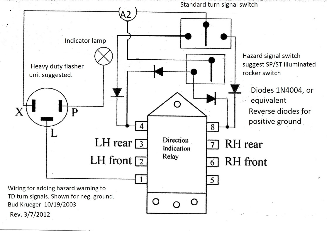hight resolution of adding hazard warning to td turn signals hazard and turn signal switch wiring diagram
