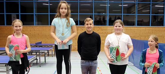 Siegerehrung der Wettkampfgruppe 1 Mädchen der TTC Muggensturm Mini-Meisterschaft