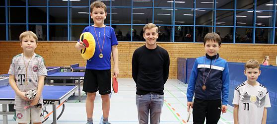 Siegerehrung der Wettkampfgruppe 2 Jungen der TTC Muggensturm Mini-Meisterschaft