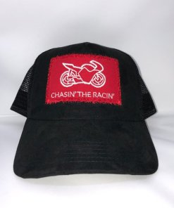 Chasin the Racin Baseball Cap Front Red High Quality Suede