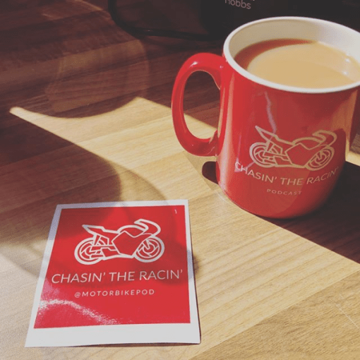 Chasin the Racin Mug and Sticker and lovely brew