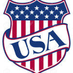 USA banner across a flag motif shield