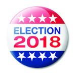 "Button with flag motif and words ""Election 2018"" emblazoned"