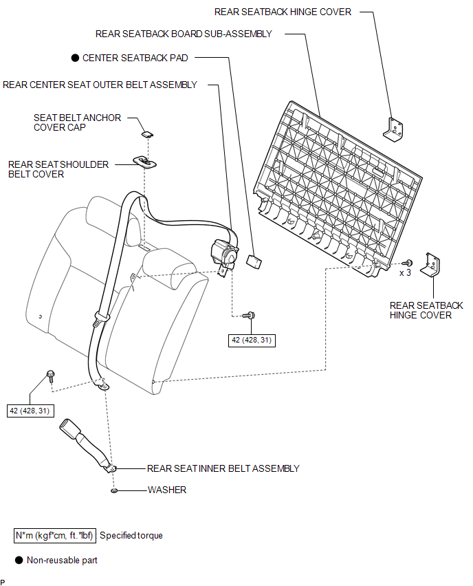 Toyota Tacoma 2015-2018 Service Manual: Rear Center Seat