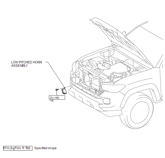 Toyota Tacoma 2015-2018 Service Manual: Low Pitched Horn