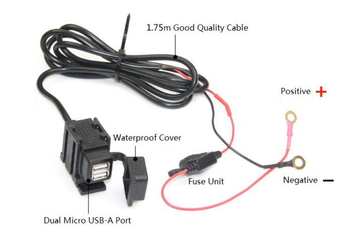 Waterproof universal USB Power Port with Fuse & Bracket