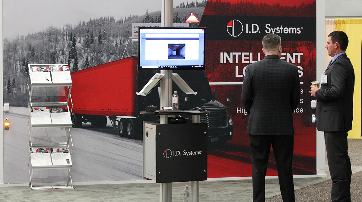 The I.D. Systems booth at MCE. (John Sommers II for Transport Topics)