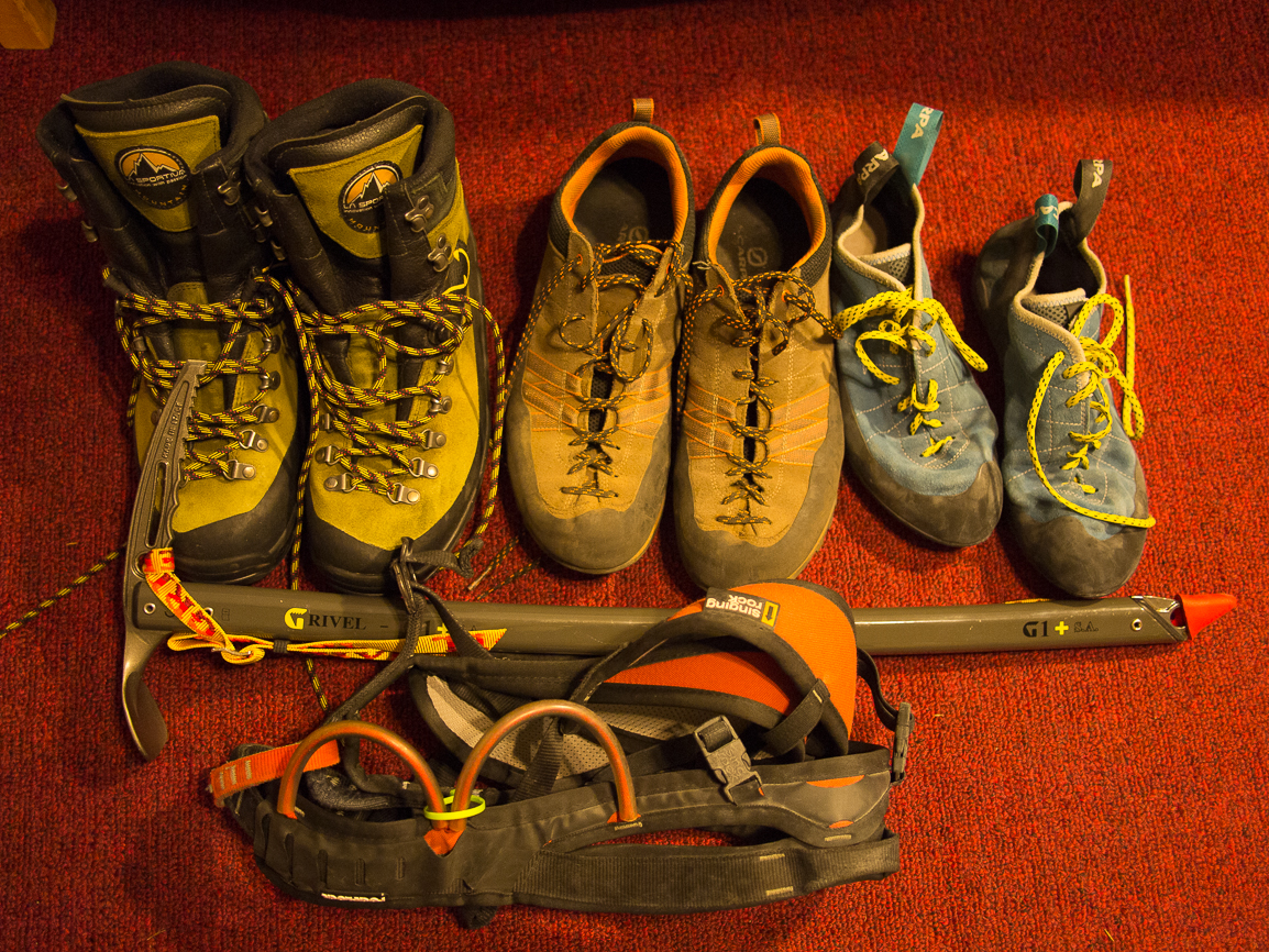 This was my shoe lineup for a science conference in Spain. The mountain shoes in the middle were my conference shoes. One of the greatest features of a science career is getting your flights funded for conference trips and ducking off for some fun on the side, wherever you are! I had two friends in Switzerland, so I set up a side trip, and my girlfriend stopped by to join us on her way to England.