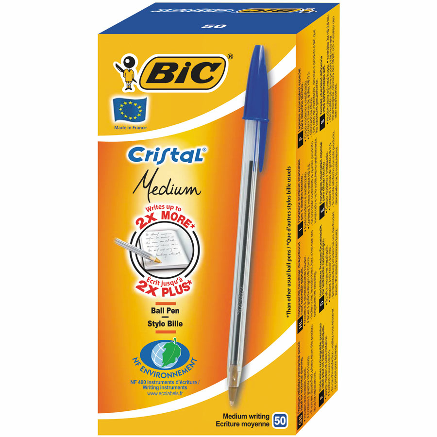 Buy Bic Cristal Medium Ballpoint Pen 50pk  TTS