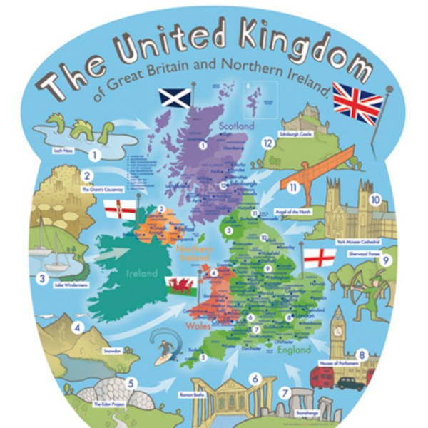 Buy Outdoor UK Wall Map with Famous Landmarks TTS