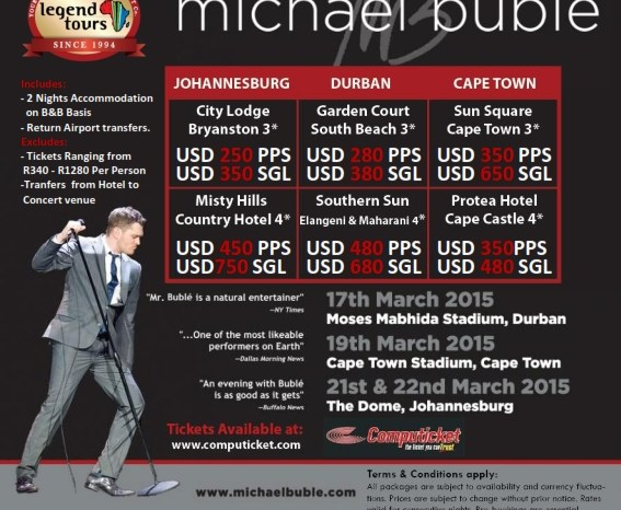 See Micheal Buble LIVE in Durban and Capetown