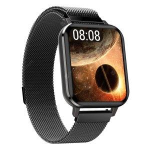 Smartwatch Smartwatch – Fitness Tracker – Heren – Zwart met stalen band